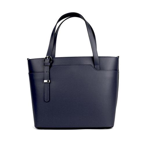 Donkerblauwe handtas asymmetrische hengels