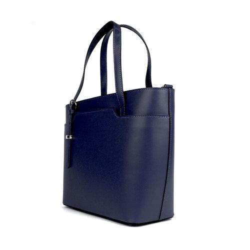 Donkerblauwe leren handtas met asymmetrische hengels
