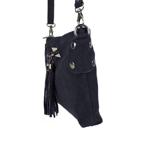 Donkerblauw suède schoudertasje met kwastjes