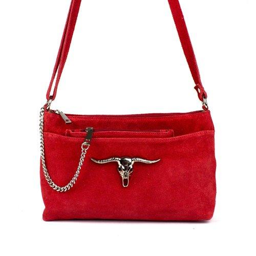 Rode schoudertas met stier