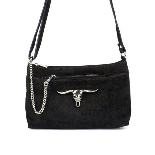 Zwarte schoudertas met stier