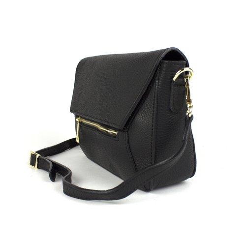 Zwart leren schoudertasje met goudkleurige details