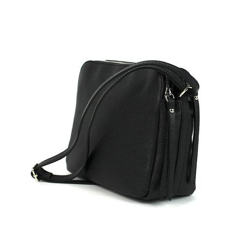 Tweedelige leren schoudertas, zwart