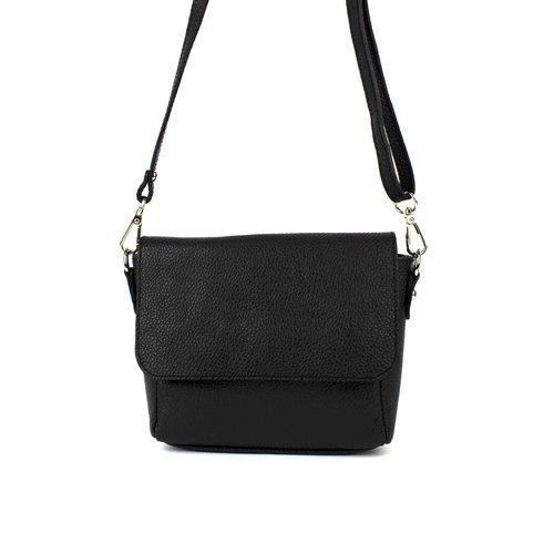 Zwart leren schoudertasje met overslag