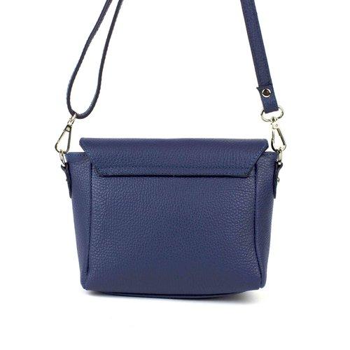 Blauw leren schoudertasje met overslag