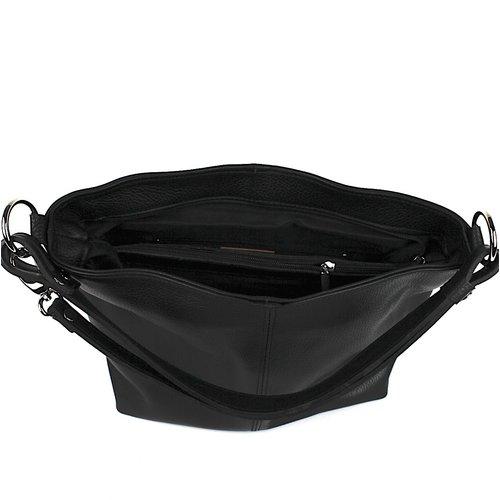 Zwarte leren schoudertas