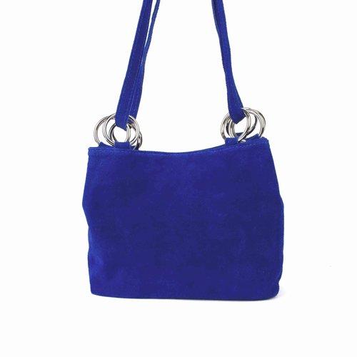 Kobaltblauwe suède schoudertas met ringen