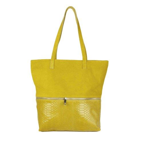 Gele shopper met slangenreliëf