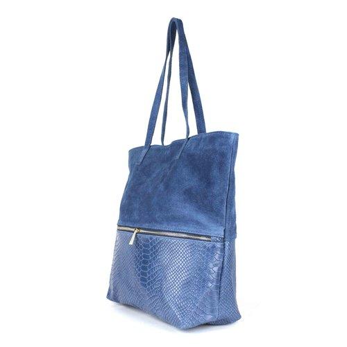 Jeansblauwe  suède shopper met slangenreliëf
