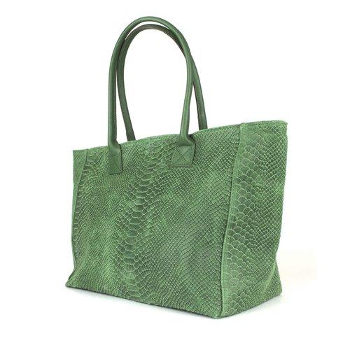 Groene suède shopper, slangenreliëf