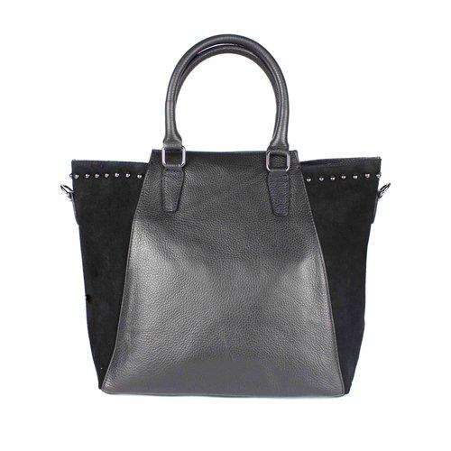 Zwarte tas, van leer en suède, met studs
