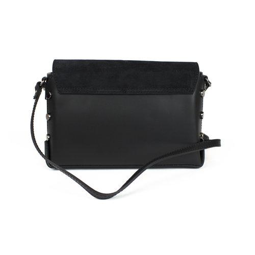 Zwart schoudertasje met suède klep en studs