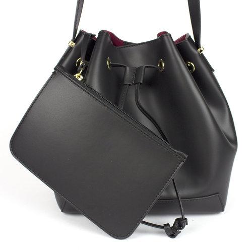 Leren buidel / schoudertas in zwart met rood