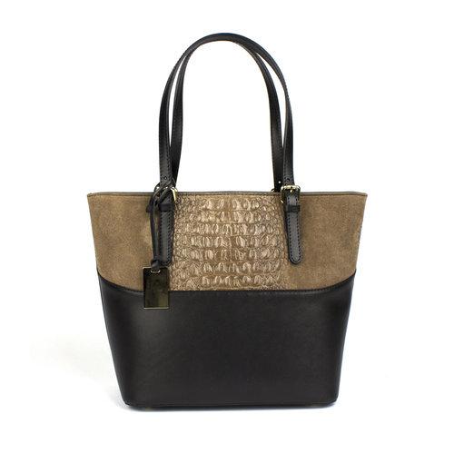 Handtas in zwart met taupe gecombineerd leer
