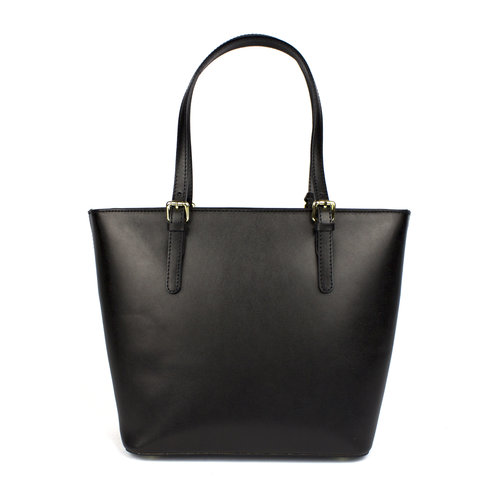 Chique handtas in zwart met taupe gecombineerd leer