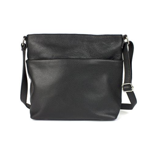 Zwarte schoudertas met voorvak