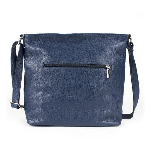 Blauwe, leren schoudertas met voorvak
