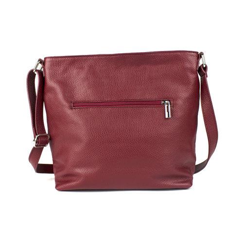 Donkerrode, leren schoudertas met voorvak