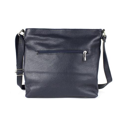 Donkerblauwe, leren schoudertas met voorvak