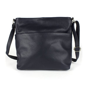 Donkerblauwe schoudertas met voorvak