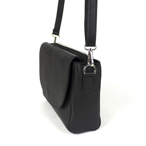 Zwarte, leren schoudertas, driedelig