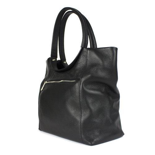 Zwarte leren handtas met ronde hengsels