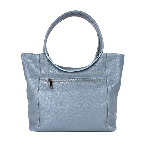 Grijsblauwe handtas met ronde hengsels
