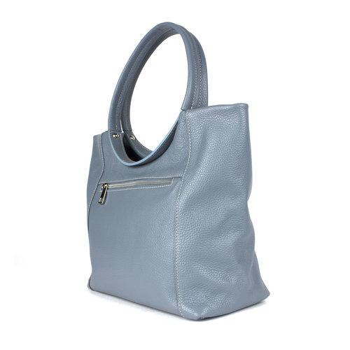 Grijsblauwe leren handtas met ronde hengsels
