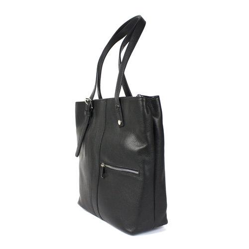 Zwarte, driedelige leren schoudertas