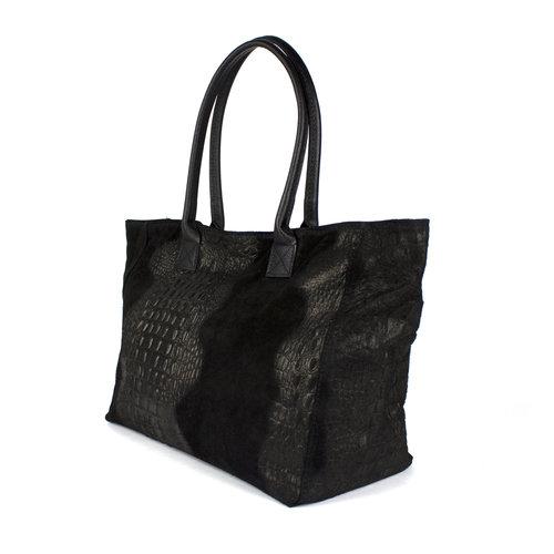 Zwarte suède shopper met krokoreliëf