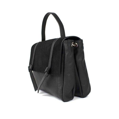 Zwarte, leren schouder- / handtas, geknoopt