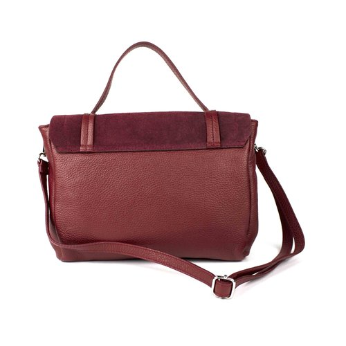 Bordeauxrode, leren schouder- / handtas, geknoopt