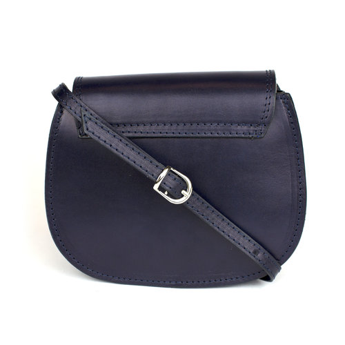 Donkerblauwe leren saddle bag