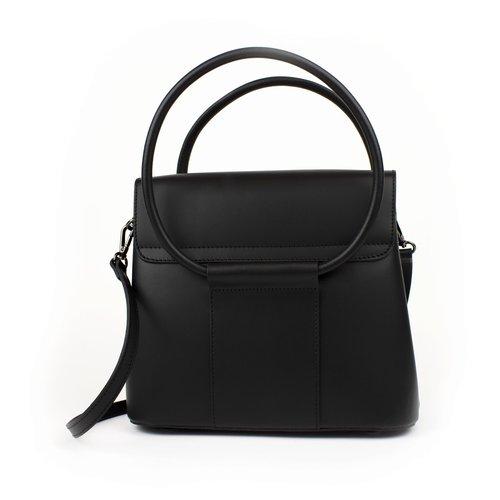 Zwarte leren handtas met ronde hengsels, hoog model