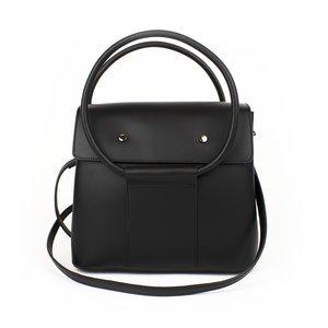 Zwarte handtas met ronde hengsels