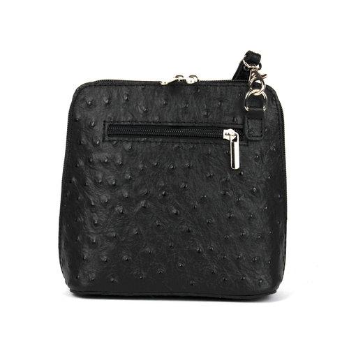 Struisvogel schoudertasje, zwart leer