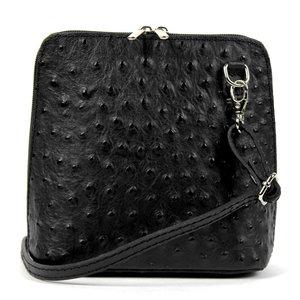 Zwart struisvogel schoudertasje