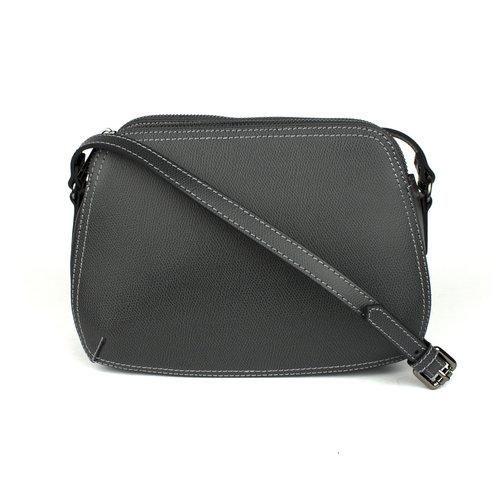 Antraciet schoudertasje met drie delen