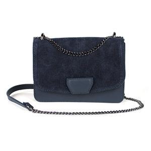 Donkerblauw schoudertasje in leer met suède