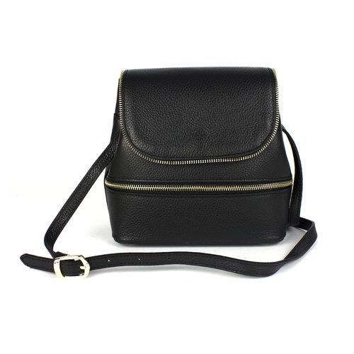 Zwarte, schoudertas met sierritsen