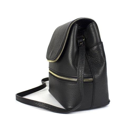 Zwarte, leren schoudertas met sierritsen