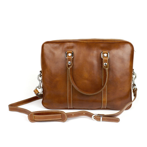 Cognackleurige leren (laptop) tas  / businesstas