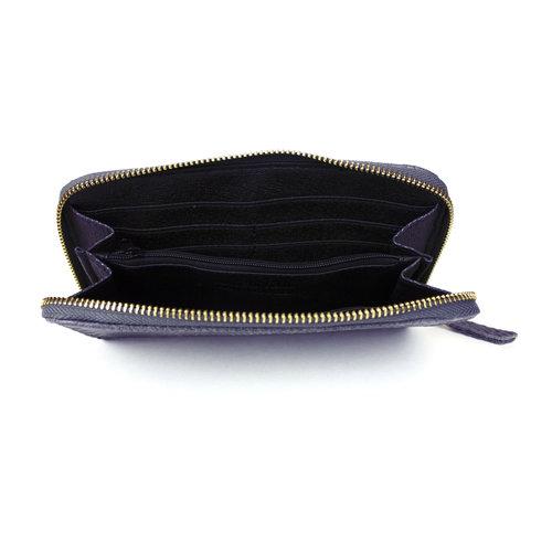 Donkerblauwe portemonnee van leer met slangenreliëf