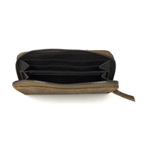 Donkerbruine portemonnee van leer met slangenreliëf