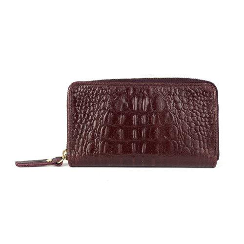 Bordeauxrode portemonnee kroko