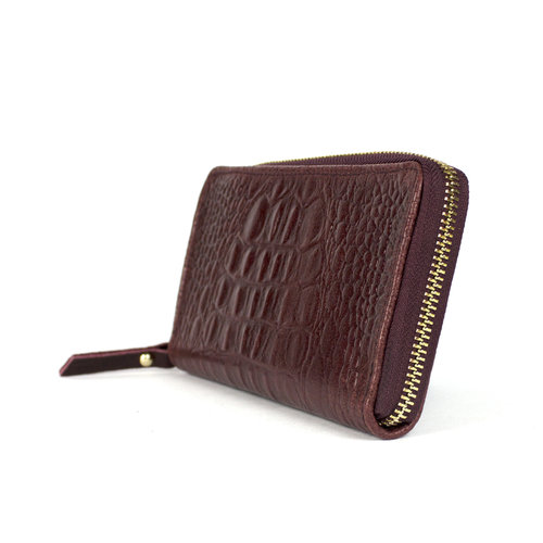 Bordeauxrode portemonnee van leer met krokoreliëf