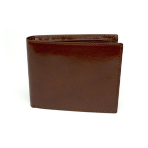 Heren portemonnee kastanjebruin leer