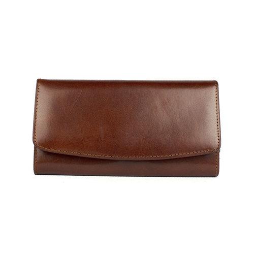 Bruine leren dames portemonnee