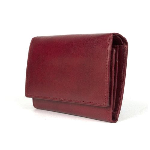 Donkerrode, leren portemonnee