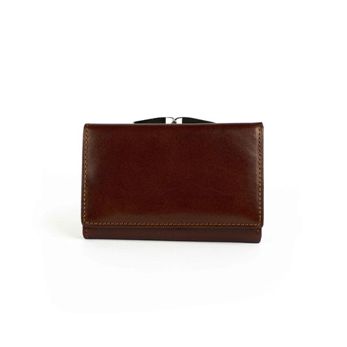 Bruine, leren portemonnee medium